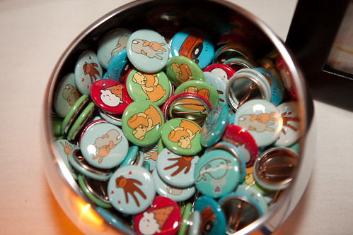 My buttons on the table at the wedding.