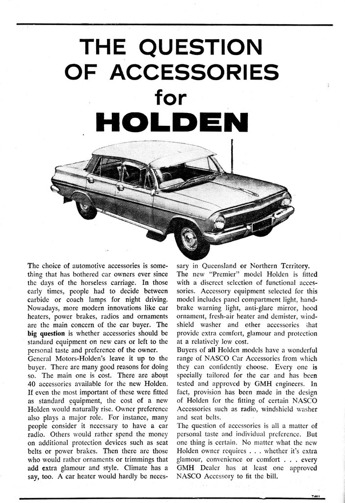 1962 Nasco Holden EJ accessories ad