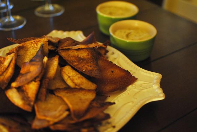 homemade truffle pita chips