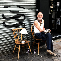 Yes. That's my lamp. Yes, it's named 'Franky'. No, you're not getting its seat. (vintagedept) Tags: street uk london lamp outside chairs sunny dude shoreditch bricklane stroll squared iphone4 shoreditchouting