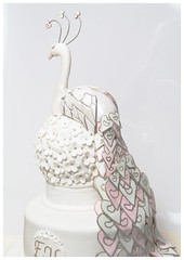 peacock wedding cake (cake the whole cake and nothing but the cake) Tags: wedding bird cake weddingcake whitecake birdcake whiteweddingcake pinkweddingcake greenweddingcake birdweddingcake goldweddingcake heartscake peacockweddingcake pinkandgreenweddingcake heartswedding