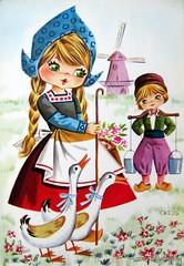 Vintage Big Eyed Dutch Couple Postcard (Sillyshopping) Tags: flowers boy cute girl dutch illustration vintage 60s couple sweet postcard goose card 70s collectable bigeyed vintagecard sillyshopping