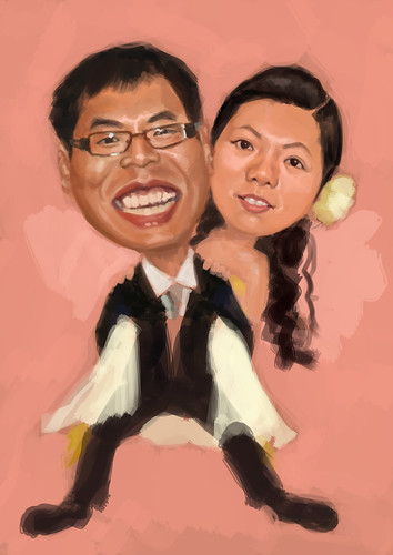 digital wedding couple caricatures - 1