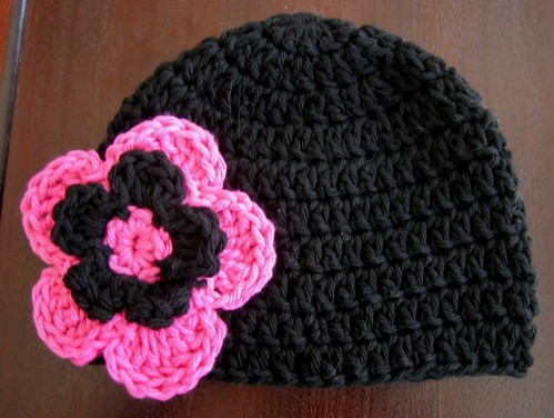 Baby Beanie Hat With Flower Pattern - Black Pink