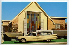 Tucson, Arizona - Adair Funeral Home, 1959 Superior Cadillac ambulance that smartly matches the color of the building. (Dr. Mo) Tags: tucson ambulance emergency bls funeralhome mortuary procar hightop arizonia cadallic professionalcar drmo jimmoshinskie