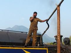 Filling the Water Tank with Mobile Phone, Nilgiri Mountain Railway (themanwithsalthair) Tags: india water cellphone steam mobilephone tamilnadu narrowgauge bluemountain kallar nilgirimountain