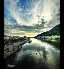 The Neckar River and Heidelberg (Andy Brandl (PhotonMix)) Tags: summer sky storm vertical ferry clouds forest reflections nikon hill cities heidelberg hdr chemtrails neckar buoy 2011 buoyant vertorama weathermanipulation universitycities photonmix andybrandl