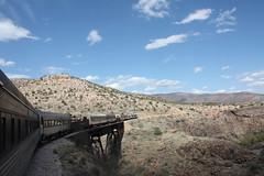 Over the Bridge (Sarah B in SD) Tags: railroad arizona usa nature beauty us natural sedona trains roadtrip american redrock roadtrippin verdecanyonrailroad buttes verdevalley clarkdale verdecanyon oakcreek bigg15 fp7locomotives