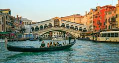 Gondola and Rialto Bridge (mgstanton) Tags: 2016 europe italy travel venice canal rialto rialtobridge gondola gondolierwater