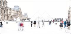 Louvre (ck.chaix) Tags: paris noiretblanc louvre ghost musée nb pyramide flou fantome fantômes surex
