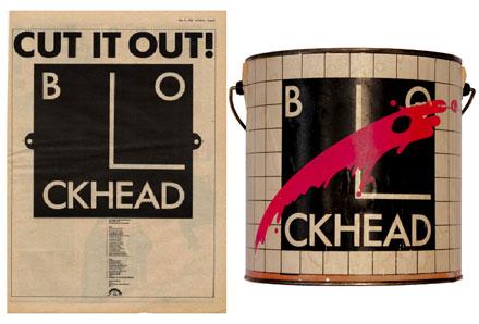 Barney Bubbles' Blockhead logo - music press tour ad 1978 + promotional paint can, 1979.