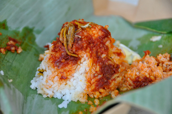 Nasi lemak wrapped in a banana leaf