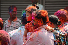 Holi Dad & Daughter (sparkeypants) Tags: travel india man girl festival canon geotagged bright father goa daughter holi margao earthasia