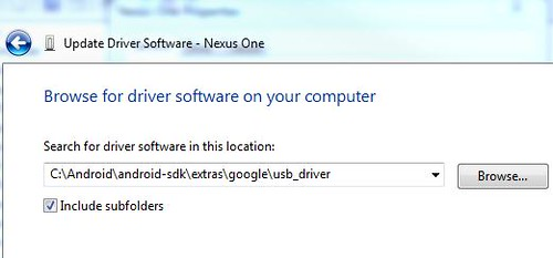 Browsing for the Google USB Drivers
