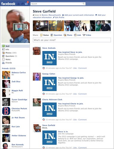 Obama 2012 Are You In on Facebook