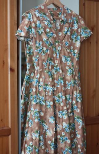Brown and Blue Floral Vintage Dress