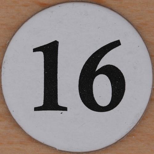 Cardboard bingo number 16