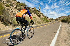 Bicyclist Training on Desert Road (jim_david) Tags: road bike bicycle race speed training healthy desert hill stock drew fast lifestyle racing health excercise bicyclist fitness forward wellness saguarocactus bartlettlake