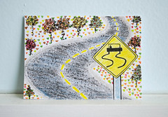 ATC Road Sign (Windowfog) Tags: road autumn trees india art fall car sign atc ink pencils watercolor sketch leaf artist hand painted small foliage doodle card trading colored winding collectible pens pitt trade available drawin