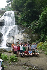 Group enjoying a waterfall