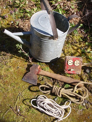 Cord, short rope, hatchet & Watering Can