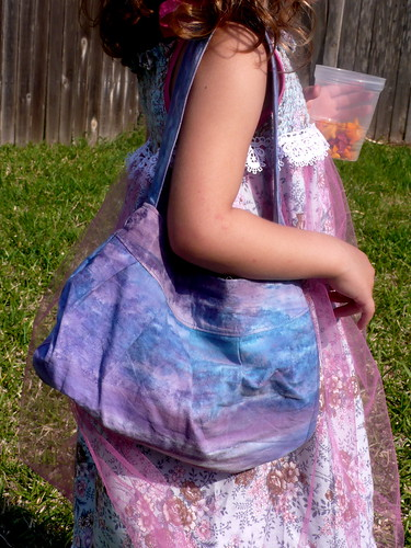 "Daisy in her birthday ""Princess"" dress with Buttercup Bag"
