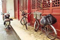 Bicycles (j e s s i c a  -) Tags: china county wood old city history bike bicycle metal trash bag temple town wooden garbage junk doors cyclist basket gates district buddhist traditional country religion north chinese culture buddhism historic monastery monks cycle m