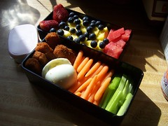 My Fiance's Earth Day Vegetarian Bento 4/22/11 (mewlkitten) Tags: ranch baby chicken fruit dinner sticks buffalo strawberry day earth egg hard dressing watermelon pineapple vegetarian bento carrots boiled celery spinach blueberries morningstar nugglets