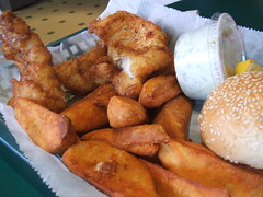 Cod and wedge fries