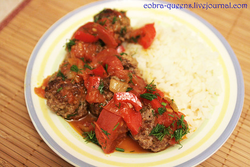 Noisettes with tomato and bell pepper