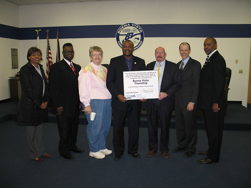 From left:  Trustee Cheryl Merrill, Treasurer Tommie Orange, Jr., Trustee Gloria Platko, Supervisor Dwayne Parker, State Director James J. Turner, Senior Advisor Doug O'Brien, Gregory Carter – Trustee.