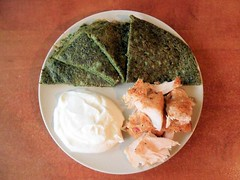 Spinach fritatta with smoked salmon and cheese (Aanilorak) Tags: light food green vegetables cheese breakfast healthy spinach slamon