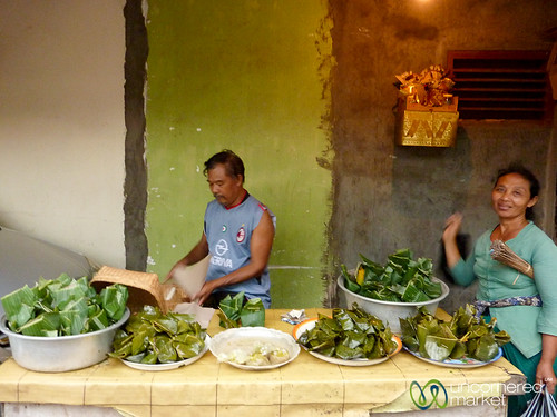 Whole Meals Wrapped in Banana Leaves - Ubud, Bali
