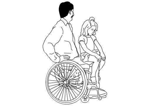 dos personas compartiendo silla de ruedas