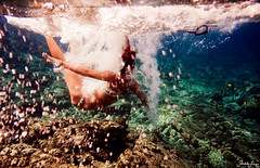 (SARA LEE) Tags: ocean summer girl hawaii underwater free bubbles bigisland leash splash ashleys reef kona sarahlee legothenego kohanaiki vivantvie