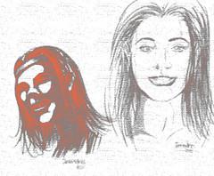 Ilustración de caras de mujer - Women faces illustration (ånnndres) Tags: photoshopfilter digitaldrawing womenfaces dibujodecarasdemujer