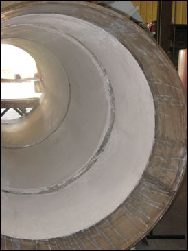 "universal expansion joint with 5"" thick refractory lining"
