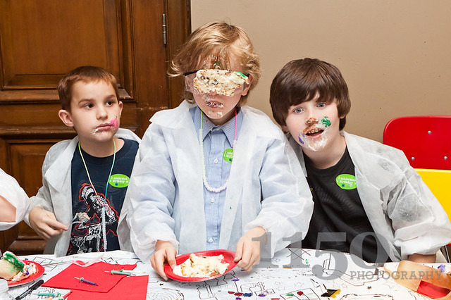 Mad Scientist party cake face