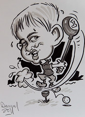 blackandwhite pen pencil ink golf jack driving drawing picture caricature teeoff