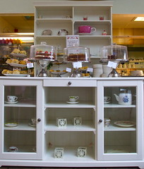 Rosie's Tea Rooms (Lydie's) Tags: white cakes cabinet teacups plates scones wirral nessgardens englishness servery rosiestearooms