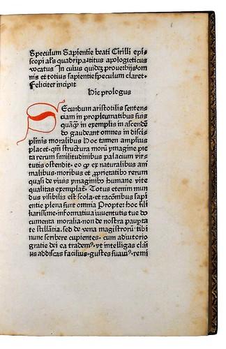 Rubricated initial in Boniohannes de Messana: Speculum sapientiae