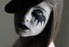 (Lou Bert) Tags: portrait white black girl face hat self paint makeup rankin