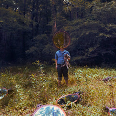 A Moment of Self Reflection (Casey David) Tags: blue trees boy brown white selfportrait reflection green overgrown yellow standing forest cat self mirror still wood