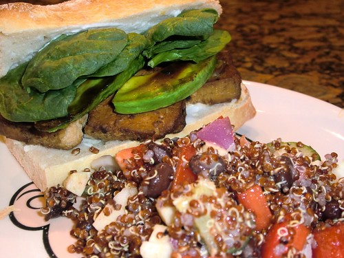 Marinaded Baked Tofu Sandwiches with Red Quinoa Salad with mustard vinaigrette