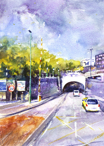 Car Hits Tunnel Painting