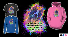 Colorful Pitbull Art with a Message against Cropping Ears (Beverly & Pack) Tags: pit bull bulls american terrier pitt dog cropped ears animal abuse mutilation canine t shirts long sleeved shirt hoodie youth for sale colorful art message saying quote pink blue black rainbow staffordshire bully breed bsl adopt adoption rescue shelter pound save family pets paint splatter americanpitbullterrier americanstaffordshireterrier bullterrier