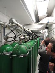 Löschanlage: Flaschen mit Argon-Löschgas (200 bar)