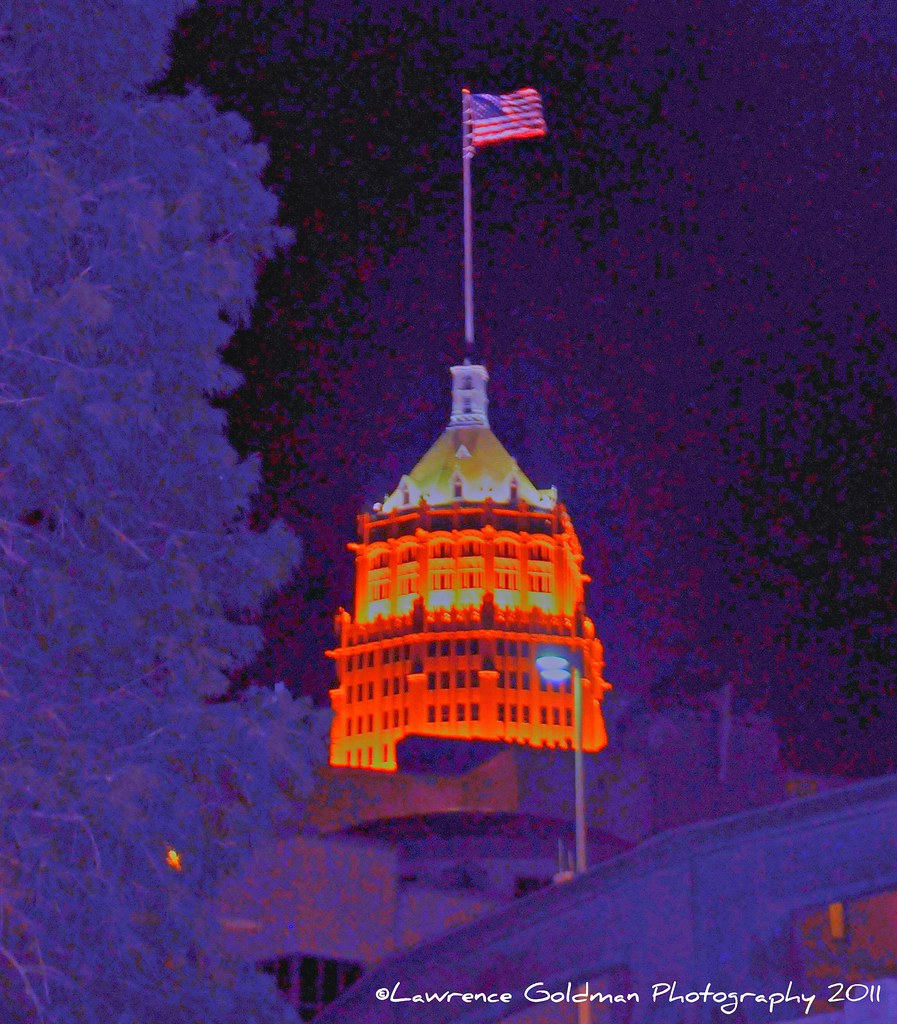 Lighted Tower with American Flag hdr