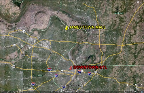 Jamestown Mall in relation to St. Louis (via Google Earth)