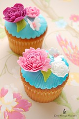 Pink beauty! (Little Cottage Cupcakes) Tags: birthday pink blue wedding white vintage butterfly cupcakes anniversary peony fuschia fondant shabbychic sugarpaste littlecottagecupcakes